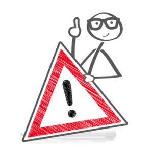Karikatur mit Warnschild - Gefahren der Intimrasur